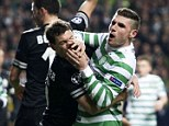 Tussle: Celtic striker Gary Hooper tangles with Stephan Lichtsteiner during the first leg