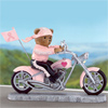 Headed For A Cure Breast Cancer Teddy Bear Biker Figurine - Collectible Teddy Bear Figurine Is On the Road to a Cure and Wants You to Hop Aboard! Caring Breast Cancer Pink Ribbon Gift