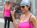 Somebody needs a bigger bra! Lisa Rinna leaves workout session in a tight vest top which squashes her ample cleavage