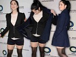 Baby take off your coat! Sarah Silverman, 42, strips down to silk hotpants and bizarre thigh-high stockings at environmental event honoring Al Gore