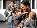 Juggling act: Jennifer Garner hip-carried Seraphina and Samuel