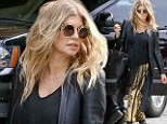 No mom jeans here! Fergie keeps her rocker edge in leather jacket and animal print trousers