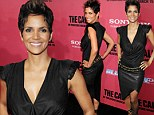 Lovely in leather! Stunning Halle Berry steps out at film premiere sporting a tight split skirt and low cut top