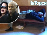 Pictured: Sleepy Lamar Odom dozes on bench in court hallway on day of child custody hearing with ex