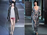 Flapper chic is back in vogue as Louis Vuitton shows nightwear heavy collection of delicate slips, furs and mannish coats at PFW - debuting both Cara and Kate on the catwalk together