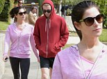 Fitness fanatic Ashley Greene dresses her slender frame in workout wear as she hikes with a friend before hitting the gym