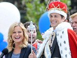Good spirits: The stars, who play Leslie Knope and Chris Traeger in the show, looked in good spirits as they filmed the scene