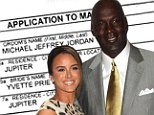 Ready to say I do! NBA star Michael Jordan, seen here with Cuban-American model Yvette Prieto last year, applied for a marriage licence on Thursday