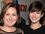 Flawless: Anne Hathaway opted for a low-key look as she turned out in support of her mother, Kate, at New York's prestigious Vivian Beaumont Theatre on Thursday