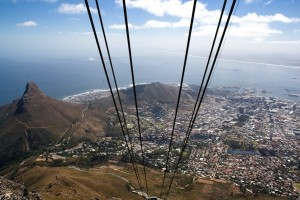 Taking the cable car up Table Mountain