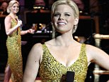 She's a gold star! Megan Hilty wows in a figure-hugging sequined gown as she returns to the stage to perform at gala