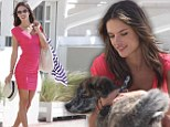 That's one lucky pooch! Alessandra Ambrosio enjoys a welcome break from her Victoria's Secret photoshoot when a precious puppy comes to play