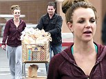 That ought to last a while! Britney Spears stocks up on groceries but her bodyguard gets stuck with pushing the trolley