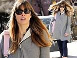 Flare for fashion! Jessica Biel dons grey shawl coat on hair-raising stroll through New York