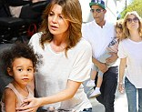 The actress attended her team's match against the Chicago Bulls on Sunday afternoon with her husband Chris Ivery and daughter Stella Luna.