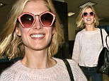 Rosamund Pike wore some unusual sunglasses in Los Angeles this weekend