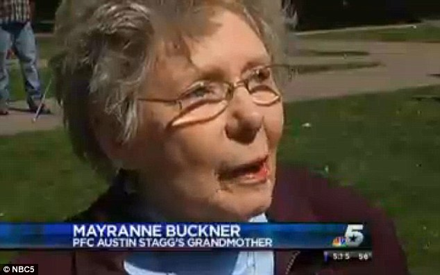 Heartfelt gratitude: Mayranne Buckner, the grandmother of PFC Austin Stagg, 19, killed three months after deployed to Afghanistan in 2010, mutually expressed her gratitude knowing someone is still thinking of those who died