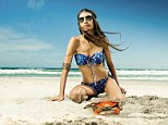 Lizzy Jagger poses on a South African beach in a watercolour design from Austrian intimates company Skiny