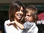 Just like Mason: Kourtney Kardashian and son mason look the spitting image of each other as they leave lunch