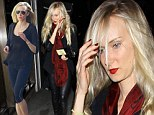 A lot can change in a few hours: Stunning Kimberly Stewart spruces up and steps out in leather following a gym session