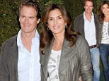 Still a catwalker! Cindy Crawford makes a fashion statement in jeans and leather jacket at charity event with husband Rande Gerber