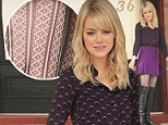 Caught in a web! Emma Stone brightens up the set of Amazing Spider-Man 2 in crochet tights and tiny purple skirt