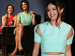 A dream in aquamarine! Selena Gomez flashes her washboard stomach in striking cut-out dress as promotes Spring Breakers