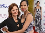 Stealing the show: Padma Lakshmi wows in monochrome printed gown as she poses up with Susan Sarandon at charity gala