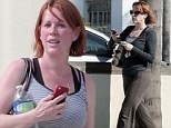 Pretty in pink: Molly Ringwald looks flushed as she leaves the gym in Los Angeles