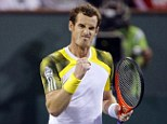 Making a fist of it: Andy Murray celebrates his straight sets victory over Lu Yen-Hsun in Indian Wells