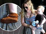 Hilary Duff's little man Luca follows in mommy's fashionable footsteps as he slips on a pair of trendy fringed moccasins