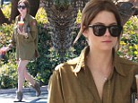 Feeling green? Newly brunette Ashley Benson is cute and casual in a khaki army shirt and thigh-skimming floaty skirt