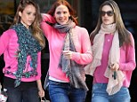 Did somebody say Pink Ladies? Jessica Alba, Alessandra Ambrosio and Jennifer Garner ALL step out in hot pink sweaters, scarves and jeans on the same day