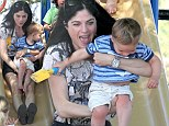 Fun ride! Selma Blair took her son Arthur to the park in Los Angeles, on Wednesday