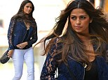 Back in her white skinnies! Picture perfect Camila Alves breezes into hotel wearing a pair of tight trousers after giving birth just three months ago