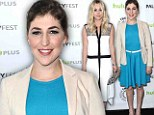 Fashion showdown! The Big Bang Theory's Mayim Bialik dazzles in flirty blue dress while her costar Kaley Cuoco is a fashion miss in shapeless white dress