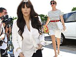 Pregnant Kim Kardashian upstages sister Kourtney with her new bangs by choosing unusually elegant outfit