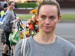Fresh as a daisy! Off-duty model and actress Amber Valletta goes make-up free to stock up on groceries