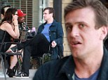 Jason Segel chats with a mystery woman over coffee at a West Hollywood, California cafe