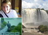 Monica Patricia Heck, 37, was filmed clambering over the side of the edge of Argentina's Iguazu Falls (file picture, right) and leaping 350ft to her dead. It is believed she the teacher had a terminal illness.