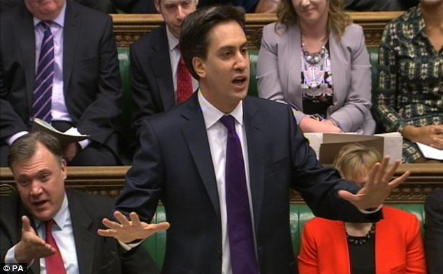 Commanding: Labour leader Ed Miliband is on course to win a majority at the next Election, according to a poll by Conservative donor Lord Ashcroft