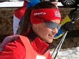 Tough: Pippa took part in the Engadine Ski Marathon this weekend, a gruelling 45km race held annually in the luxury Swiss ski resort of St Moritz
