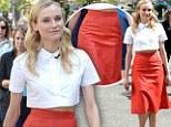 Attention-stealer: Diane Kruger was seductively elegant in a red leather skirt at The Host movie celebration