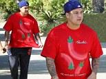 Maybe he had the munchies! 'Fat-boy' Rob Kardashian wears a marijuana-leaf shirt as he continues his health kick