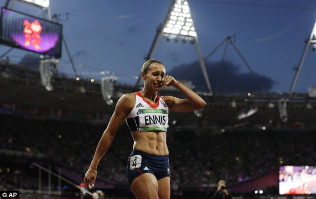 More H20: Britain's Jessica Ennis reacts to winning the heptathlon gold last night and like most British champs she burst into tears