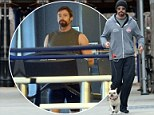 An unusual choice of gym buddy! Hugh Jackman brings his beloved dog Dali along for a gruelling workout