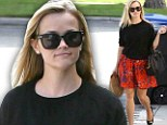 Fresh as a flower! Reese Witherspoon shows off her thin pins in a flowery skirt... as she takes her lunch to go in a doggy bag