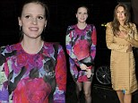 Pregnant Lara Stone shows off baby bump in colourful dress as Elizabeth Hurley keeps her ensemble underwraps