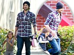 Race to the car! Gabriel Aubry and daughter Nahla went for a short sprint after school