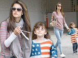 Patriotic daughter: Alessandra Ambrosio led four-year-old Anja dressed in an American flag shirt to school